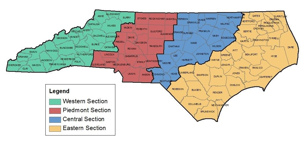map of north carolina and it's counties divided into four section: western is green, piedmont is red, blue is central and yellow is eastern.